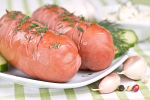 Grilled sausage with dill