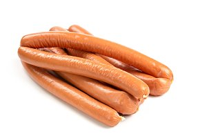 Raw sausage isolated on white