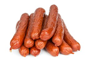 Bavarian sausages isolated on white