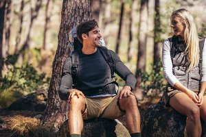 Hiking couple relaxing