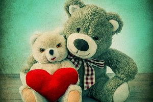 Teddy Bears couple with red heart