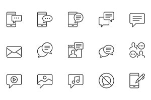Message Vector Line Icons