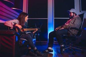 Musicians composing a song