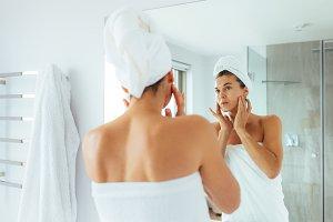 Woman getting ready after bath