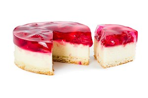 Cheesecake with raspberry jelly