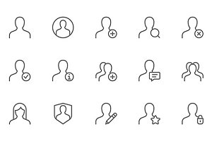 Users and Avatars Vector Line Icons