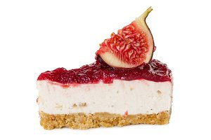 Piece of cheesecake with figs