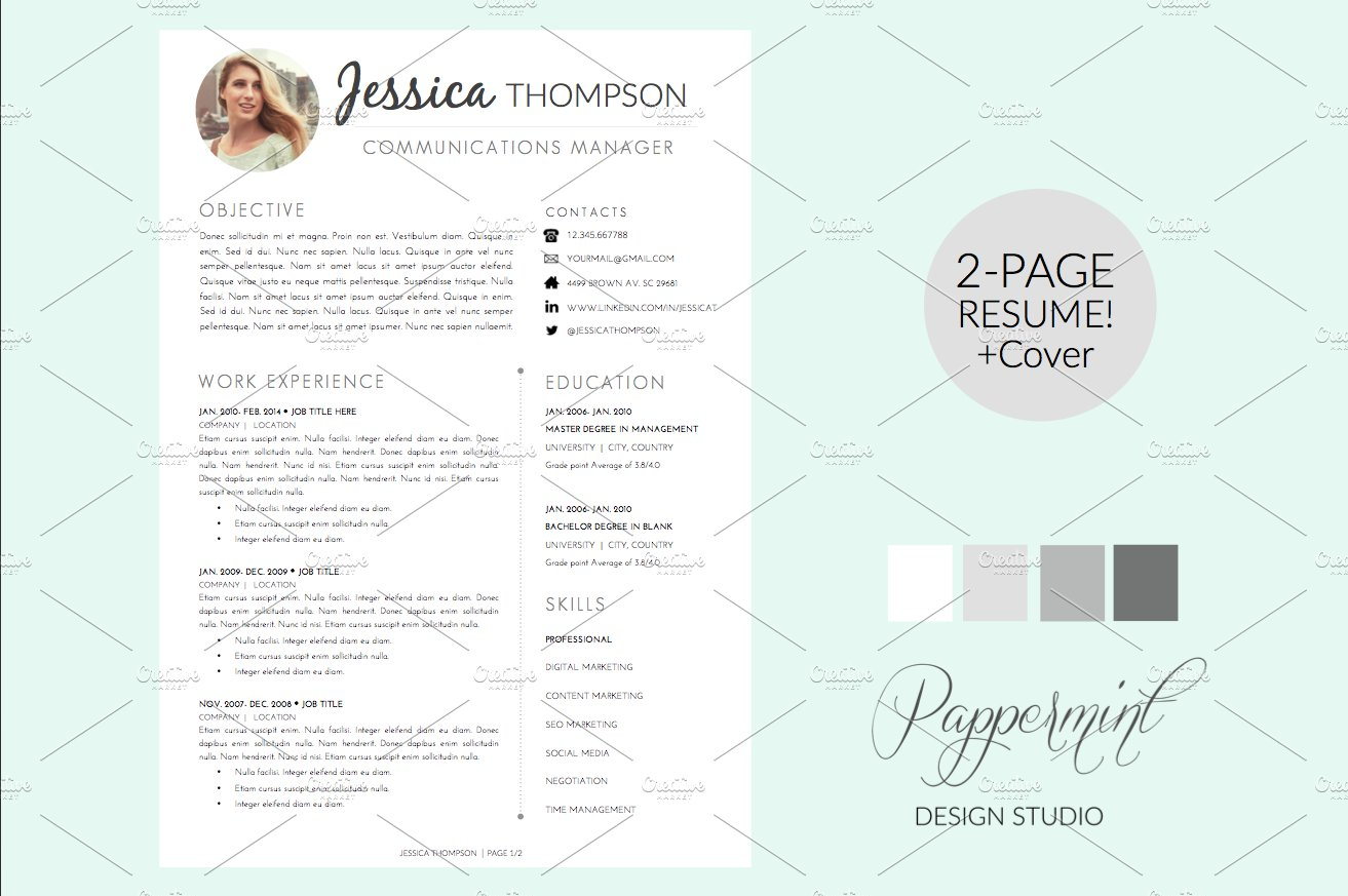 two page resume photos graphics fonts themes templates resume template