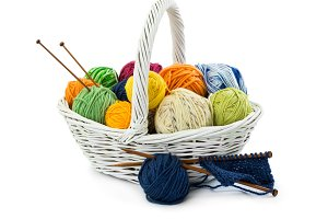 Balls of woolen threads for knitting
