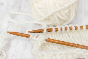 Sample of knitting from woolen yarn