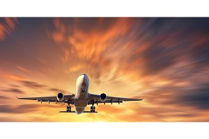 Airplane and beautiful sky with motion blur effect