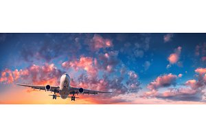 Airplane and beautiful sky. Landscape
