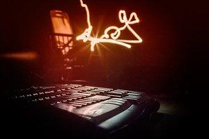 illuminated keyboard in the darknes