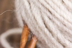 Wool yarn and knitting needles
