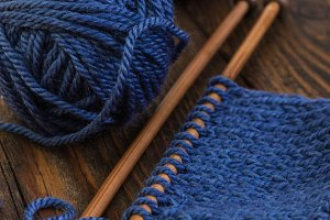 Wool yarn blue colors