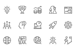 Business Strategy Line Icons