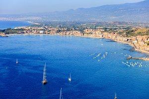 Panoramic view on Taormina coast