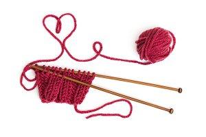 Knitting pattern on wooden needles