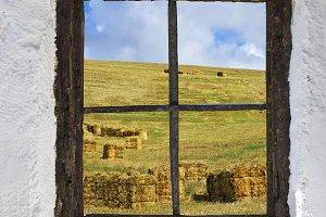 straw behind old window