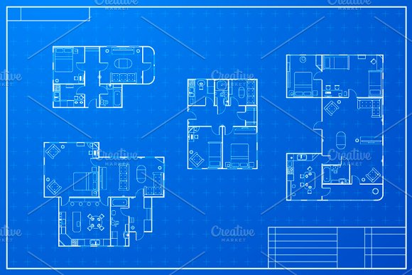 Different blueprint house plans graphic objects creative market malvernweather Image collections