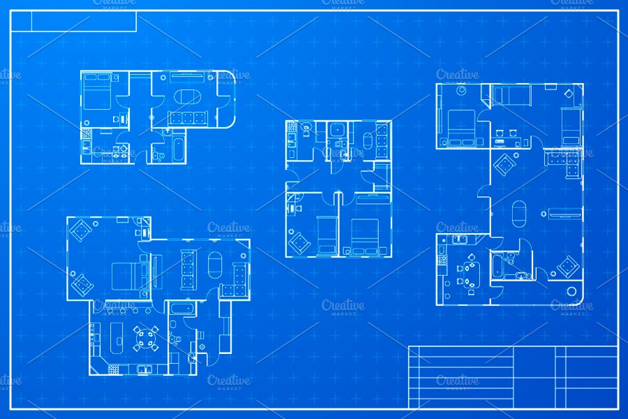 Different blueprint house plans objects creative market for How to make a blueprint of a house