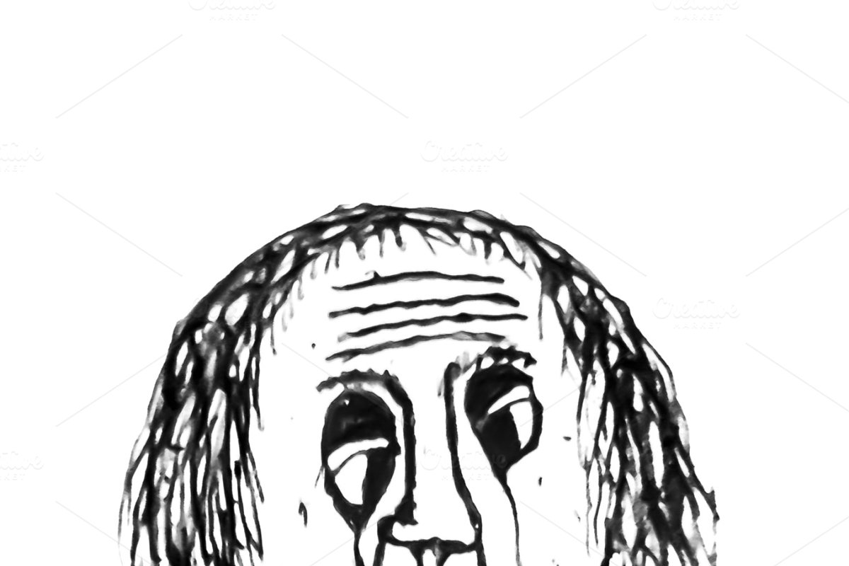 Save old man crying portrait drawing