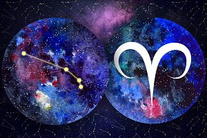 ARIES & Watercolor Galaxy