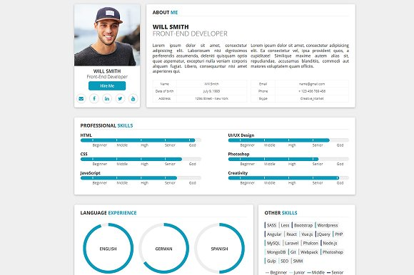 Redax - Simple OnePage CV Resume - HTML/CSS