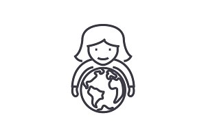 abilities,woman with globe in hands vector line icon, sign, illustration on background, editable strokes