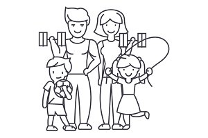active happy family in sport gym vector line icon, sign, illustration on background, editable strokes