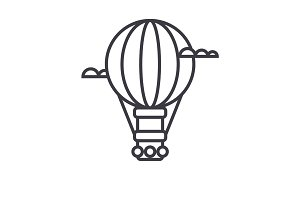 air balloon,aerostat vector line icon, sign, illustration on background, editable strokes
