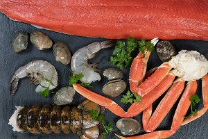 Freshly prepared raw seafood