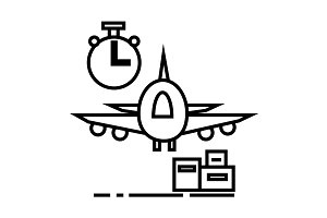 air logistics,fast delivery vector line icon, sign, illustration on background, editable strokes