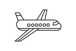 airplane,plane vector line icon, sign, illustration on background, editable strokes