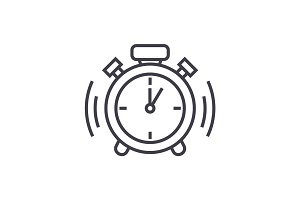 alarm clock vector line icon, sign, illustration on background, editable strokes