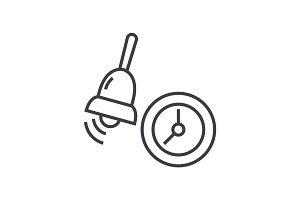 alarm,school bell vector line icon, sign, illustration on background, editable strokes