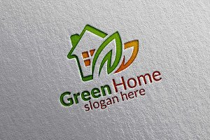 Green Home , Real estate logo