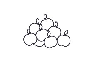 apples vector line icon, sign, illustration on background, editable strokes