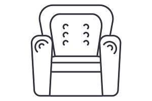 armchair vector line icon, sign, illustration on background, editable strokes