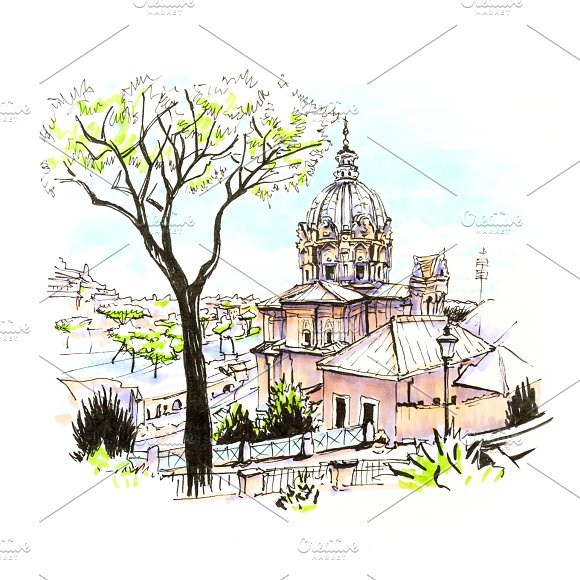 Scenic city view of Rome, Italy