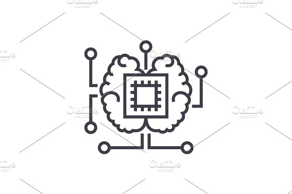 artificial intelligence, chip with brain vector line icon, sign, illustration on background, editable strokes