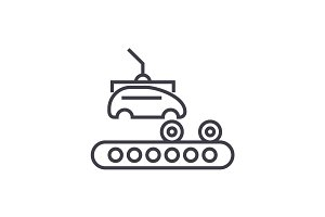 assembly car, conveyor vector line icon, sign, illustration on background, editable strokes