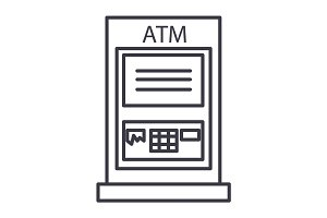 atm machine,payment vector line icon, sign, illustration on background, editable strokes