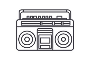 audio cassete player vector line icon, sign, illustration on background, editable strokes