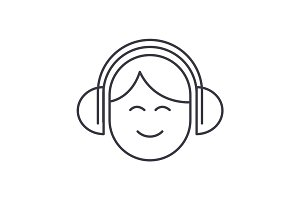 audio listening,man with headphones vector line icon, sign, illustration on background, editable strokes