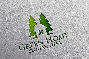 Green Home,Pine Real estate Logo