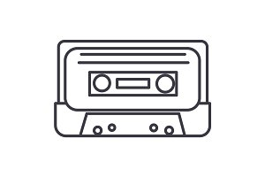 audio tape vector line icon, sign, illustration on background, editable strokes