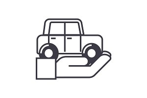 auto insurance,car in hand vector line icon, sign, illustration on background, editable strokes