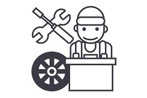 auto mechanic,battery wheel,screwdriver and wrench vector line icon, sign, illustration on background, editable strokes