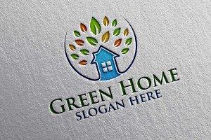 Green Home, Oak Real estate Logo